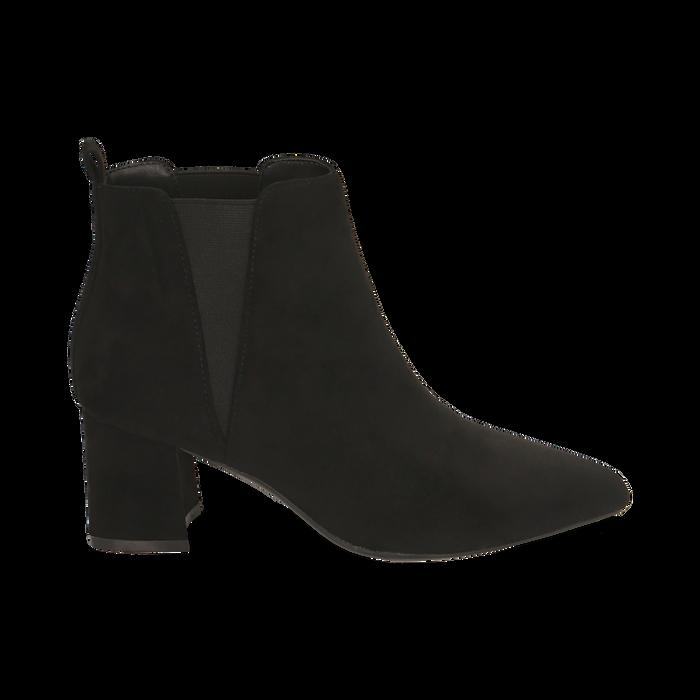 Ankle boots neri in microfibra, tacco 6 cm , Primadonna, 164931531MFNERO036