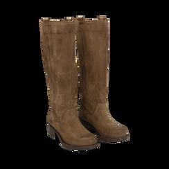 Stivali taupe in camoscio, tacco 4 cm , Scarpe, 145600092CMTAUP036, 002a