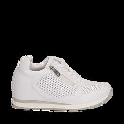 Sneakers bianche in eco-pelle con zip , Scarpe, 132899172EPBIAN035, 001a