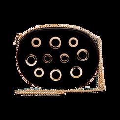 Tracollina nera in microfibra con oblò dorati, Saldi, 123308609MFNEROUNI, 001 preview