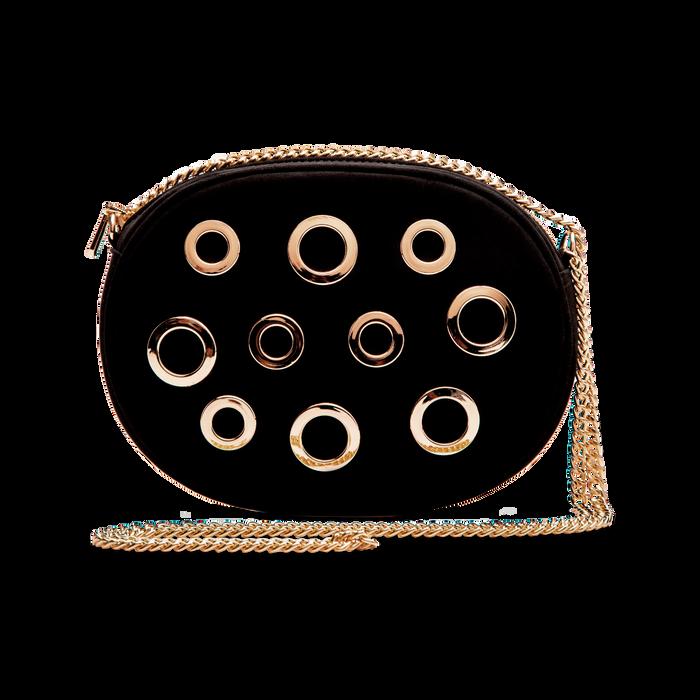 Tracollina nera in microfibra con oblò dorati, Saldi, 123308609MFNEROUNI
