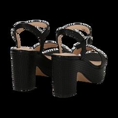 Sandali con plateau neri in eco-pelle, tacco 9 cm , Sandali con tacco, 138402256EINERO036, 004 preview