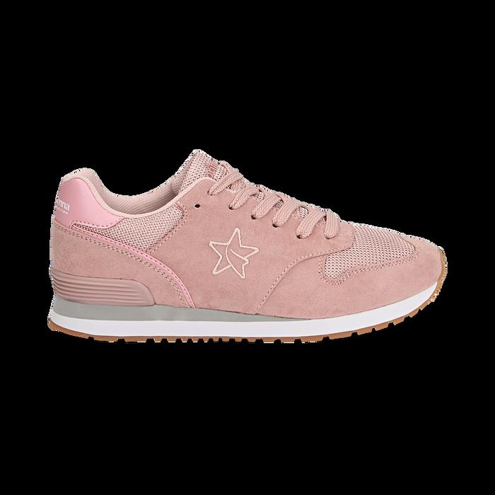 Sneakers rosa in microfibra , Scarpe, 132619078MFROSA036
