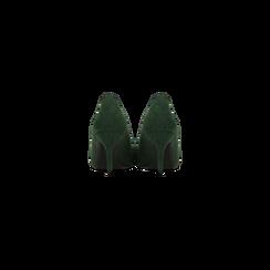 Décolleté scamosciate verdi con punta affusolata, tacco medio 7,5 cm, Scarpe, 122111552MFVERD, 003 preview