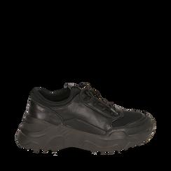 Dad shoes nere in eco-pelle, zeppa 4 cm, Scarpe, 142892502EPNERO035, 001a