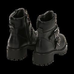 Anfibi neri in eco-pelle con fibbie e borchie, Stivaletti, 140890602EPNERO035, 004 preview