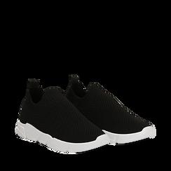 Slip-on nere in tessuto tecnico, Sneakers, 159718103TSNERO035, 002a
