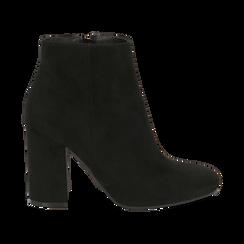 Ankle boots neri in microfibra, tacco 9 cm , Stivaletti, 142708221MFNERO036, 001 preview