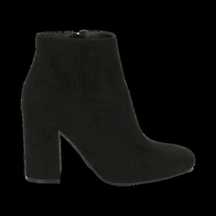 Ankle boots neri in microfibra, tacco 9 cm , Stivaletti, 142708221MFNERO036