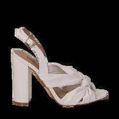 Sandali bianchi in eco-pelle con nodo, tacco 10 cm, Scarpe, 132760842EPBIAN035, 001a