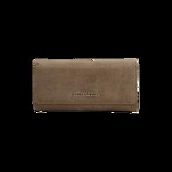 Portafoglio taupe in microfibra scamosciata con 12 vani, Borse, 122200022MFTAUPUNI, 001 preview