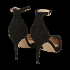 Escarpins avec une lanière en microfibre noir, talon de 9 cm, Chaussures, 152106617MFNERO036, 004 preview