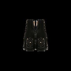 Tronchetti neri con mini-borchie, tacco 9,5 cm, Scarpe, 122186683MFNERO, 003 preview