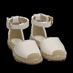 Espadrillas bianche in eco-pelle con cinturino, Primadonna, 154905188EPBIAN035, 002a