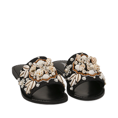 Ciabatte nere in rafia con conchiglie, Zapatos, 15K904446RFNERO036, 002a