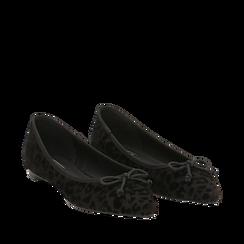 Ballerine a punta nere leopard in microfibra , 144920961MFNELE035, 002a