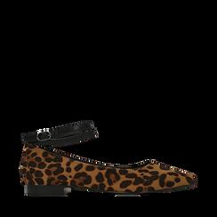 Ballerine a punta leopard in microfibra con cinturino alla caviglia, Scarpe, 144814118MFLEOP035, 001a