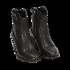 Botines de eco-piel en color negro, tacón 4,50 cm, Primadonna, 150693111EPNERO035, 002a