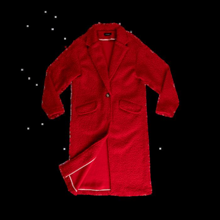 Cappotto lungo rosso lavorazione shearling, Abbigliamento, 12G750756TSROSS
