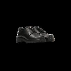 Francesine stringate nere punta tonda, Scarpe, 120801201EPNERO, 002 preview