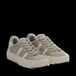 Sneakers grigie in microfibra stile vintage Seventies, Scarpe, 130101157MFGRIG035, 002a
