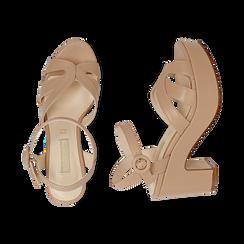 Sandali nude, tacco zeppa 8,50 cm, Scarpe, 158480211EPNUDE, 003 preview