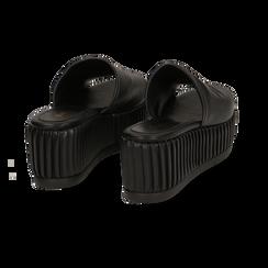 Zeppe platform nere in eco-pelle, zeppa 7 cm, Saldi, 132147652EPNERO038, 004 preview