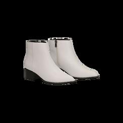Tronchetti bianchi con zip, tacco medio 4,5 cm, Primadonna, 122752721EPBIAN035, 002