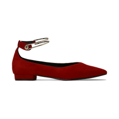 Ballerine rosse microfibra scamosciata con cavigliera e tacco basso, Primadonna, 124971303MFROSS, 001 preview