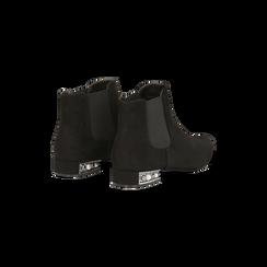 Chelsea Boots neri scamosciati, tacco basso scintillante, Primadonna, 124911285MFNERO, 005 preview