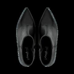 Tronchetti neri in vera pelle, tacco a rocchetto basso 6 cm, Primadonna, 127200154VINERO, 004 preview