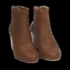 Botines en eco piel trenzada color cuero, tacón 7,50 cm, Primadonna, 15C515018PICUOI036, 002a