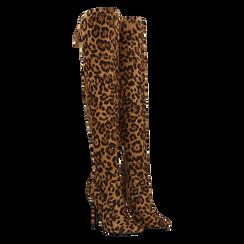 Stivali sopra il ginocchio con tacco 11 cm leopard, Primadonna, 122146868MFLEOP, 002 preview