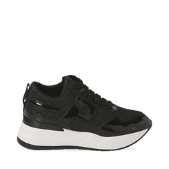 Sneakers nere glitter, suola 5,50 cm , Scarpe, 142898982GLNERO035, 001a