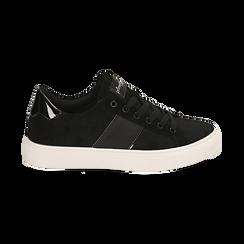 Sneakers nere in microfibra, Scarpe, 142619071MFNERO035, 001 preview