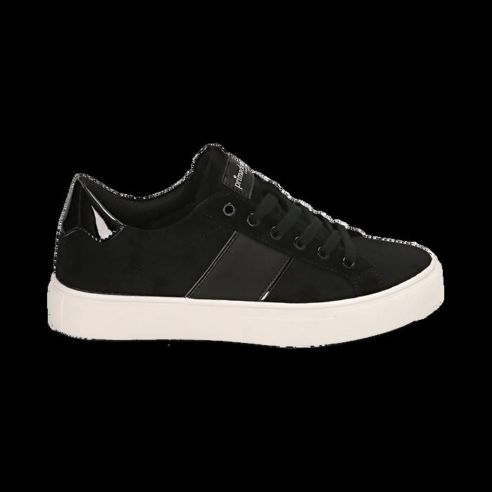 Sneakers nere in microfibra, Scarpe, 142619071MFNERO035