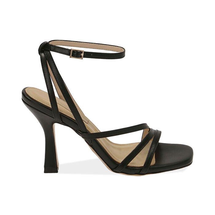 Sandales noires, talon de 9,5 cm, Primadonna, 172183653EPNERO036