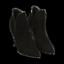 Ankle boots neri in microfibra, tacco 10,50 cm , Primadonna, 162123720MFNERO036, 002 preview