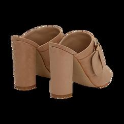 Mules open-toe nude in microfibra con fibbia, tacco 10 cm, Scarpe, 132760838MFNUDE035, 004 preview
