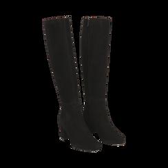 Stivali neri in camoscio, tacco 7 cm, Scarpe, 14D601110CMNERO036, 002 preview