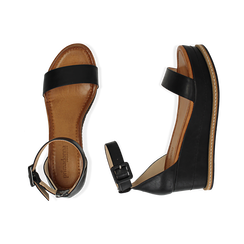 Sandali neri in eco-pelle, zeppa 6,50 cm , Scarpe, 154926113EPNERO035, 003 preview