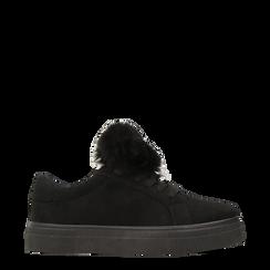 Sneakers nere con pon pon in eco-fur, Primadonna, 121081755MFNERO035, 001a