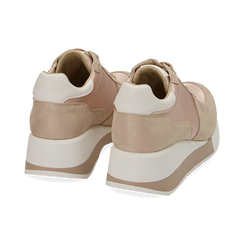 Dad shoes en satin nude, Chaussures, 152821511RSNUDE, 004 preview