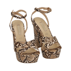 Sandalias en eco-piel con estampado de serpiente y plataforma color beige, tacón 12 cm , SABOT DE TACÓN ALTO, 152133001PTBEIG035, 002a