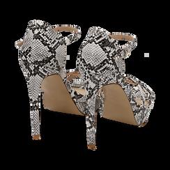 Sandalias en eco-piel con estampado de serpiente color blanco/negro, tacón 12,50 cm , OPORTUNIDADES, 152118123PTBINE036, 004 preview