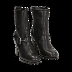 Ankle boots neri in pelle, tacco 9 cm , Primadonna, 14F114002PENERO036, 002a