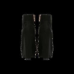 Tronchetti neri scamosciati con plateau, tacco 13,5 cm, Primadonna, 122138410MFNERO, 003 preview