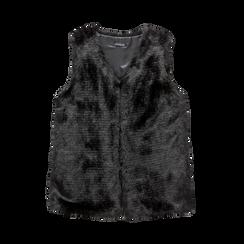 Smanicato eco-fur nero, Saldi, 12B400303FUNERO3XL, 001a