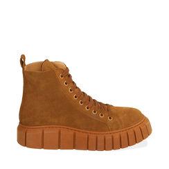Sneakers cognac in camoscio, platform 4 cm , Primadonna, 18A504002CMCOGN035, 001a
