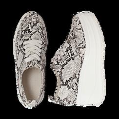 Sneakers bianche e nere in eco-pelle effetto snake print, zeppa 6 cm, Scarpe, 132008353PTBINE036, 003 preview